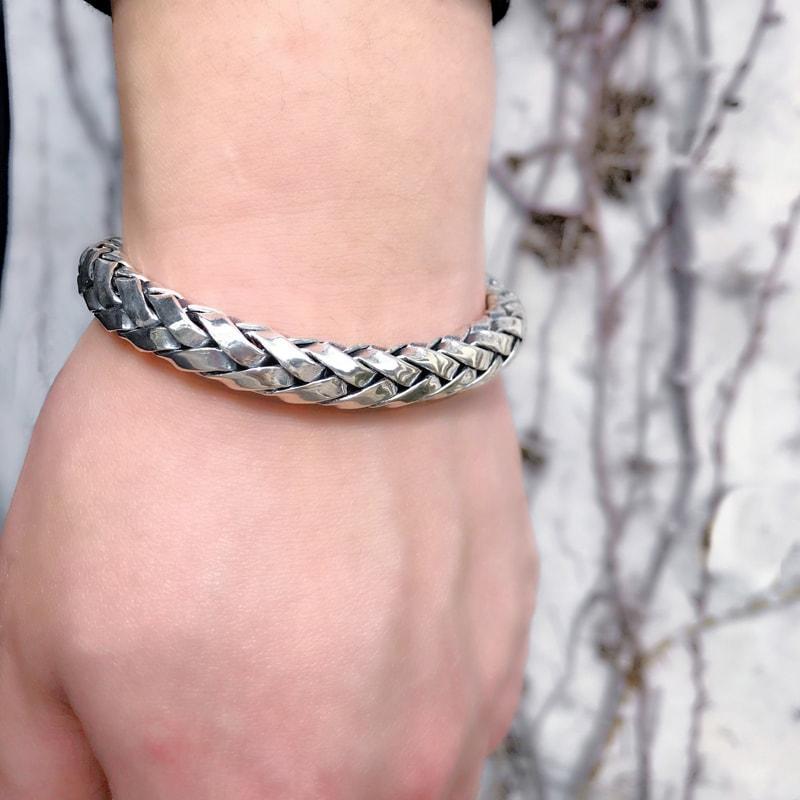 Solid Sterling Silver Woven Bracelet for Men - Mens Jewelry Online 5