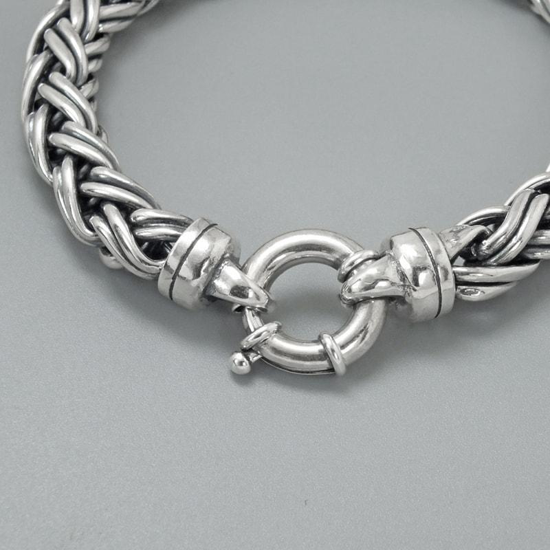 Solid Sterling Silver Modern Woven Mens Bracelet 2