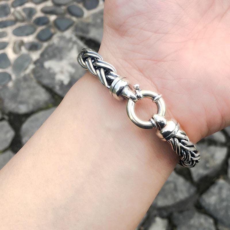 Solid Sterling Silver Modern Woven Mens Bracelet 6