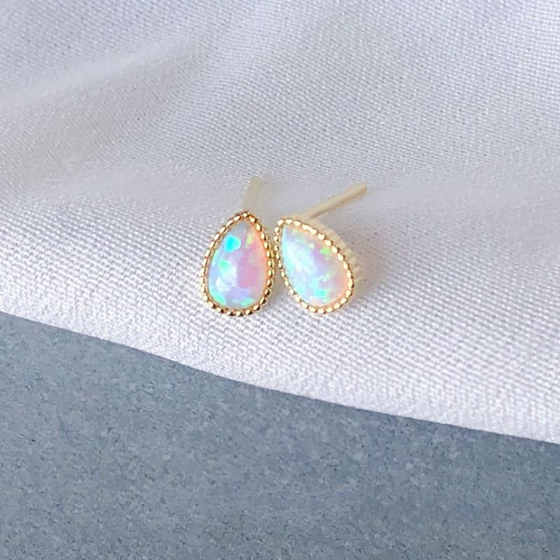 6x8 mm pear opal earrings stud wholesale