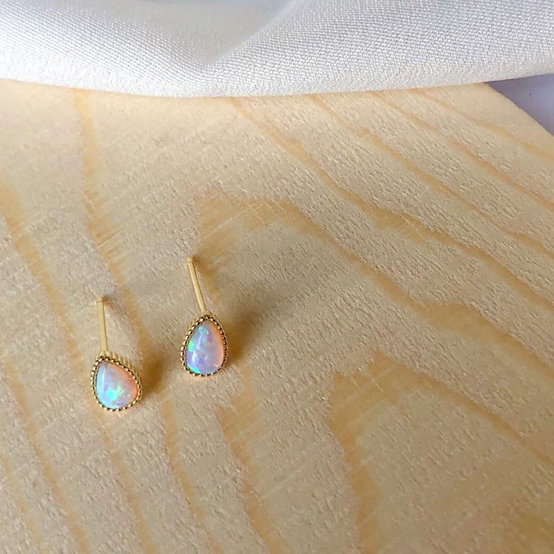 Sterling Silver Pear Synthetic Opal Earrings Studs Wholesale