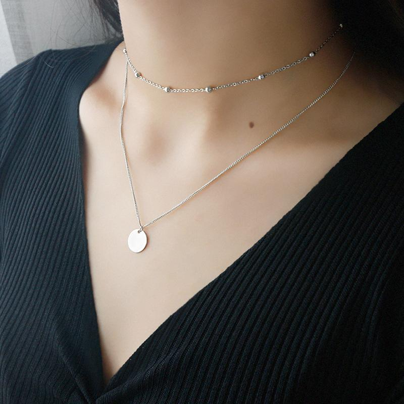 Sterling Silver Layered Disc Pendant Choker Necklace  2